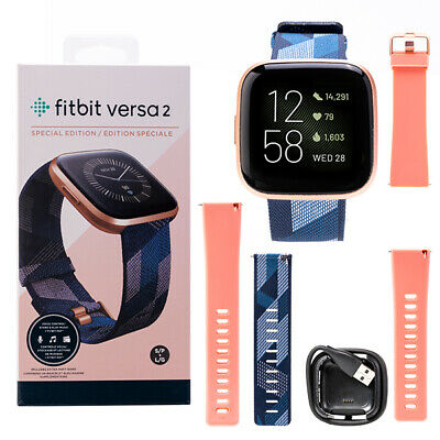 Fitbit Versa 2 Special Edition Health &Fitness Smartwatch Navy & Pink Woven NEW  | eBay