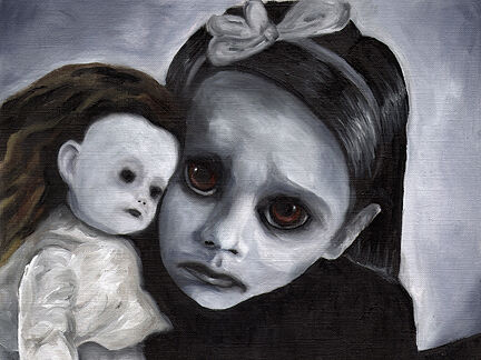 12x16 Goth Girl w// Doll Art PRINT of Painting by VERN