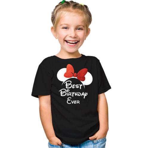 Oreilles De Souris Anniversaire Enfants Fille T-Shirt Meilleur Anniversaire JAMAIS Avec Minnie
