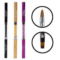 Hot New Double-headed Acrylic Kolinsky Brush Pen Nail Art Rhinestone Handle