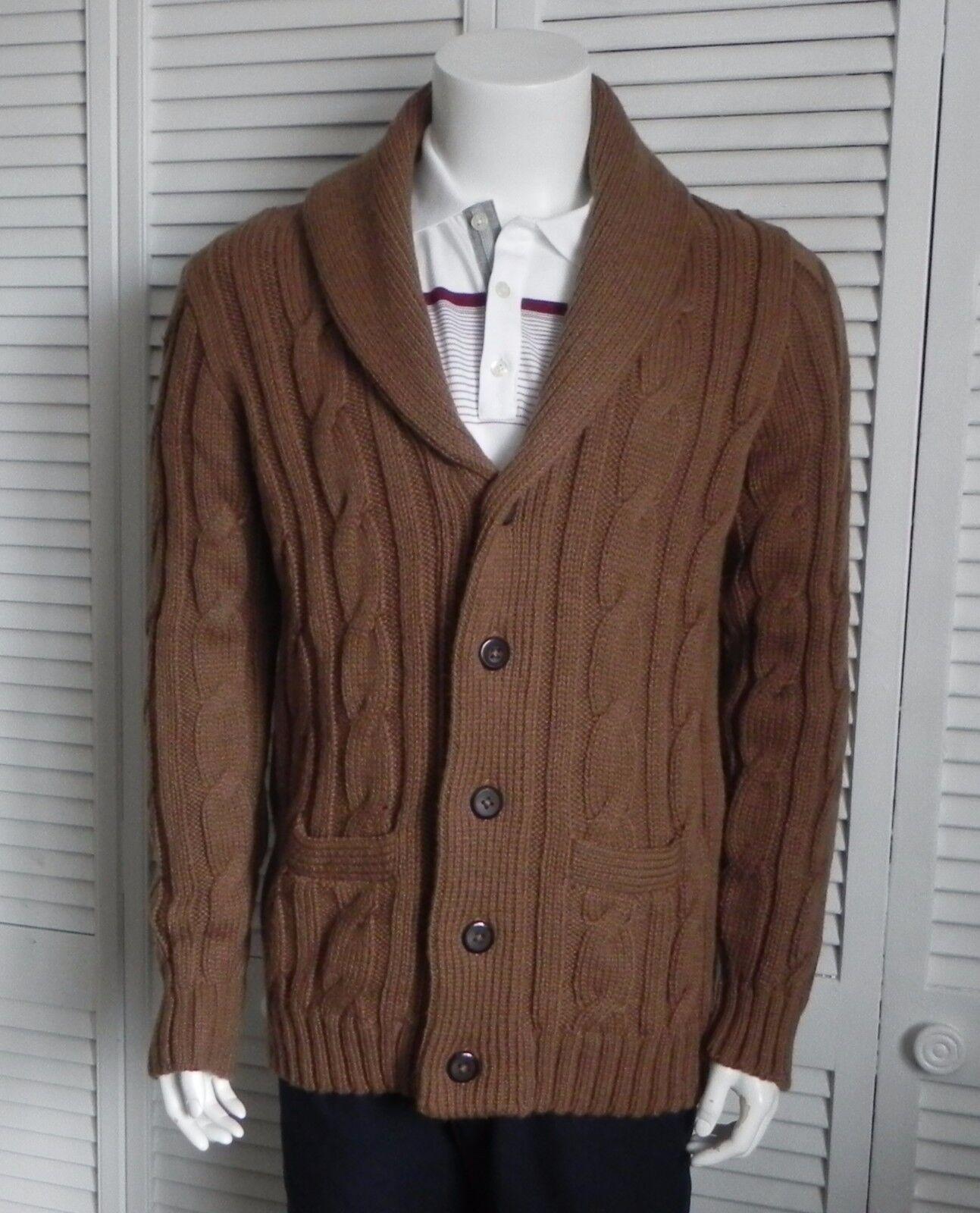NEW  Herren SIZE M ALPACA Camel Braun Cable Knit Shawl Collar Cardigan Sweater PERU
