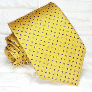AgréAble Cravatta Uomo Giallo E Blu Made In Italy 100% Seta Business Eventi Matrimoni Prix ​​ModéRé
