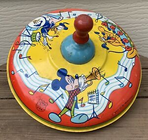 VTG-J-Chein-Tin-Litho-Large-SPINNING-TOP-Walt-Disney-Mickey-Mouse-amp-Friends-F-S