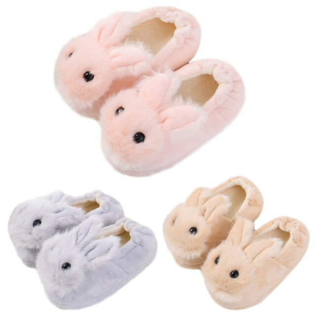 Toddler Girls Pink Easter Bunny Rabbit Slippers Loafers House Shoes