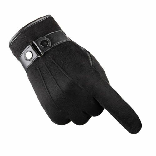Better Warm Winter Mens Gloves Faux Suede Leather Black Winter Adult Gloves Wear