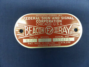 Federal Sign and Signal Model 17-A Beacon Ray 6 Volt Replacement Badge