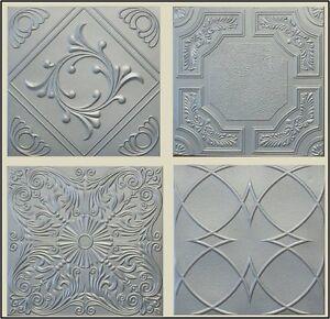 Image Is Loading Metallic Silver Styrofoam 20x20 Tin Look Ceiling Tiles