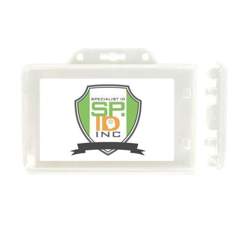 10 Clear Horizontal Permanent Locking ID Card Badge Holders Hard Rigid Plastic