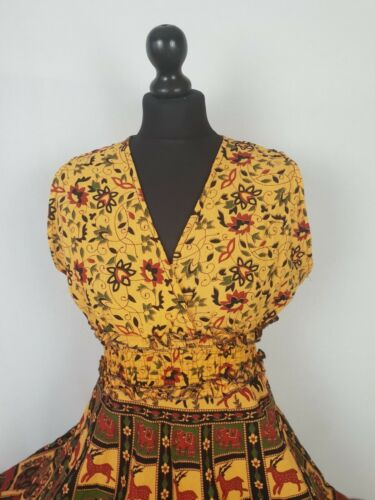 Cotton Knee Length V Neckline Tea Dress Elastic Waist Elephant Print UK  10 12