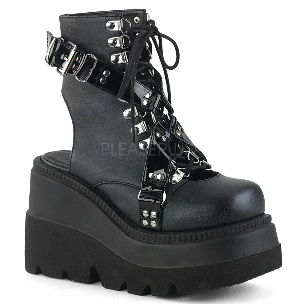 DEMONIA SHAKER-56 Womens Gothic Punk Black Wedge Platform Open Back Ankle Boots