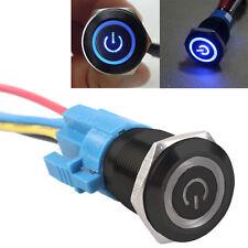 19mm 12V KFZ Schalter Drucktaster Taster LED Beleuchtet Blau Stecker HY