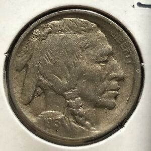 USA-1913-Buffalo-Nickel-Type-1-Philadelphia-5-Cent-Gute-Erhaltung-Selten-11038