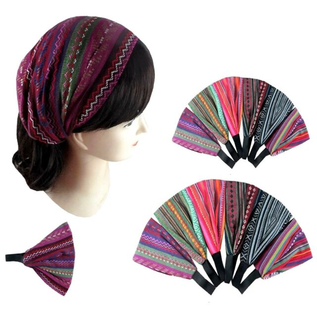6pcs Women Bohemian Wide Headband Headwrap Bandana Turban Hairband Boho Yoga Lot