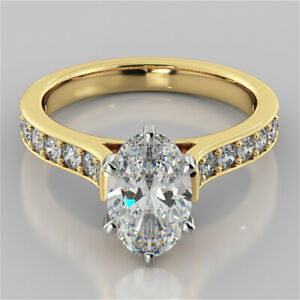 2.32 Ct Oval Moissanite Anniversary Bridal Ring 18K Real Yellow Gold ring Size 8