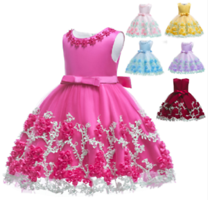 Princess Baby Girl Toddler Party Tutu Dress Pageant Wedding Birthday Gown ZG9