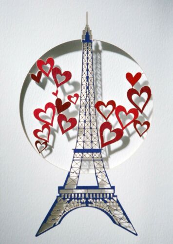 Laser Cut Card Eiffel Tower and Hearts  #VPM01