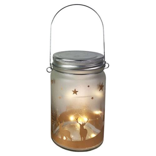 2 Stück Glas Lampe Einmachglas Laterne Weihnachtsmotiv LED Lichterkette Ø8 x14cm