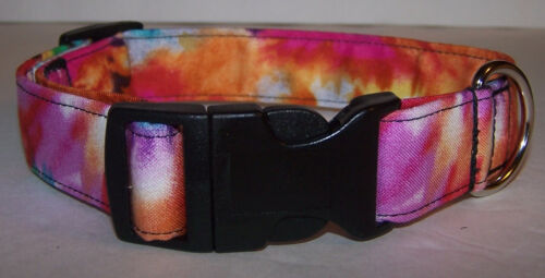 Wet Nose Designs Pastel Brights Tie Dye Retro Dog Collar Tye Dye