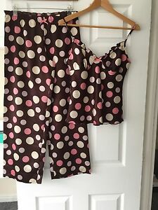 LADIES-039-MARKS-amp-SPENCER-039-NIGHTWEAR-BROWN-PINK-SPOTTED-VEST-TROUSERS-SIZE-8-GOOD-C