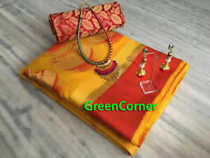 Yellow & Red Indian Ethnic Bollywood Designer Necklace Cotton SILK Saree Sari NW