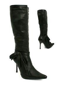 WOMENS-LADIES-KNEE-HIGH-ASOS-ZIP-UP-STILETTO-HEEL-SIDE-BOW-STYLE-BOOT-SHOES-SIZE