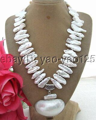 S030303 25mm Biwa Pearl&White Shell Pendant Necklace