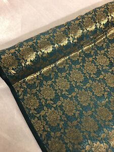 "1 MTR NEW FOREST GREEN//GOLD BROCADE JACQUARD FABRIC..45/"" WIDE"