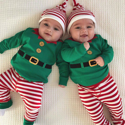 Baby Girl Boy Christmas Elf Costume Dress Up Outfits Toddler Xmas Party Clothes