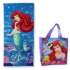 "Disney Princess Ariel Lil Mermaid Beach Towel Pool Bath Cotton 28""X58"" + Bag NEW"