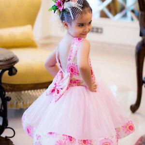983763db639c7 petite fille fleurs imprimé nœud sans manche voile robe soirée ...