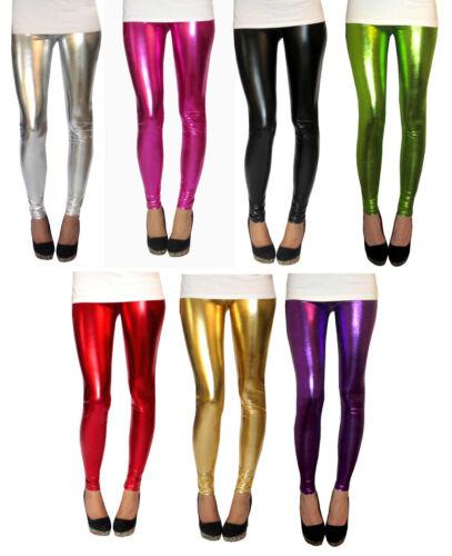 Ankle Length Leggings Ultrashine Metallic Silver Spandex SIZE 6 8 10 12 14 16 18
