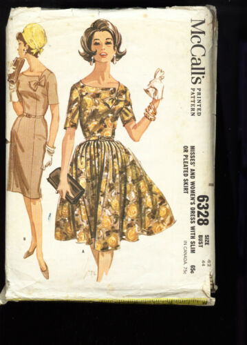 McCall's #6328 Women's Dress with Slim or Pleated Skirt sz42 Bust44 1962 SCARCE