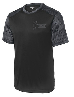 Columbia 300 Men/'s Camo Performance Crew Bowling Shirt Dri-Fit Black Carbon
