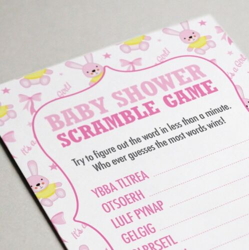 Baby Shower Word Scramble Game 16 A6 Party Cards Girls Pink BUNNY Design
