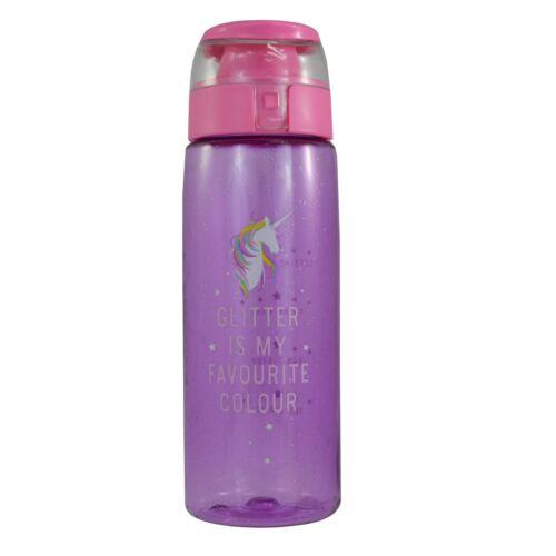 Glitter is my Favourite Colour Unicorn Glitter Flip Top Water//Drinking Bottle