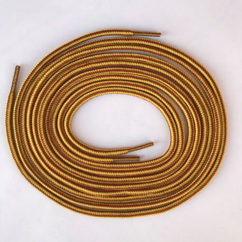 Heavy duty yellow brown round boot laces shoelaces for hiking work boots shoes