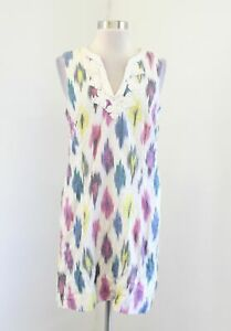 J-Crew-Ivory-Watercolor-Ikat-Shift-Dress-Size-2-Embroidered-Sleeveless-Linen