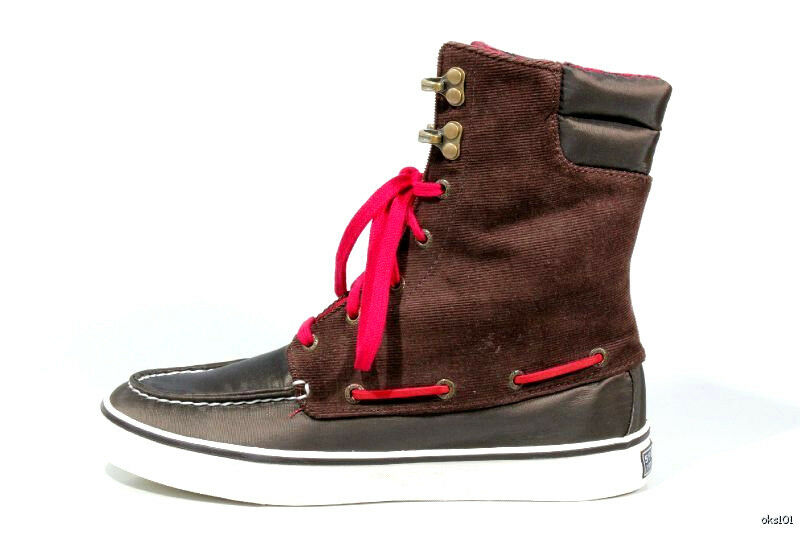 NEU SPERRY Top-Sider 'Acklins' Braun waterproof nylon moccasin ANKLE BOOTS schuhe