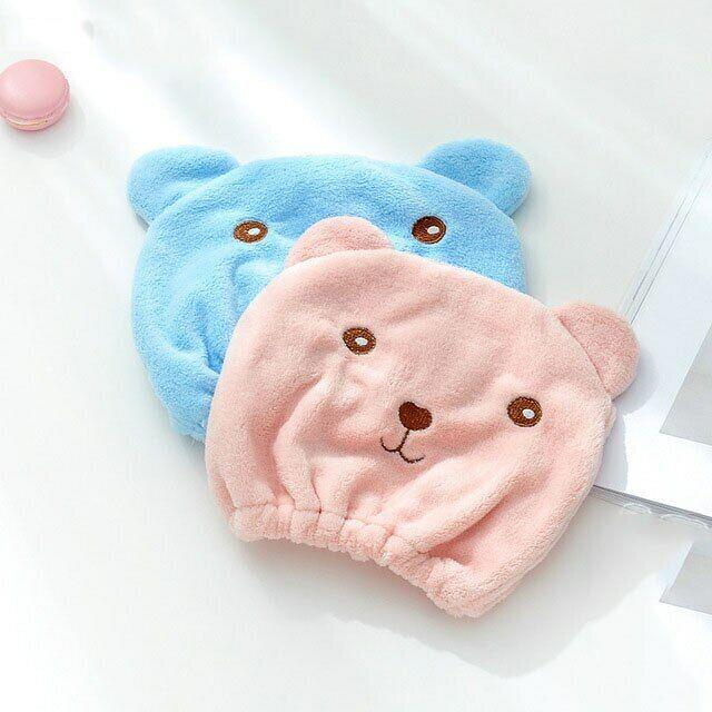 Cute Women Super Absorbent Quick-drying Bath Towel Hair Dry Cap Salon Towels