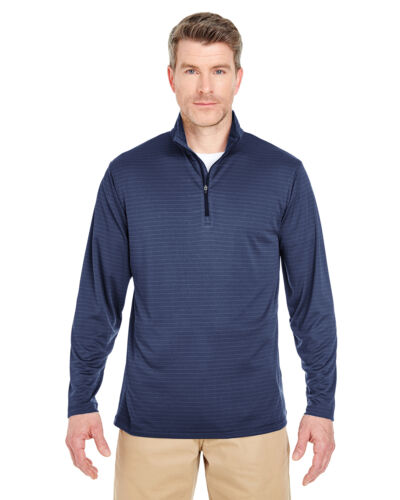 8235 UltraClub Mens Striped 1//4-Zip Pullover