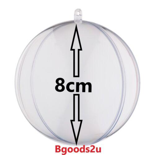 8cm Palla in Plastica Trasparente Craft Acrilico Trasparente Sfera Natale Palline