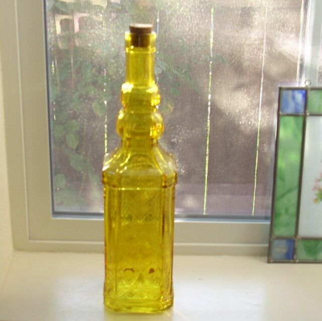 """Fancy Embossed Amber Yellow Glass Bottle 12"""" Bath Oil Window Decor"""