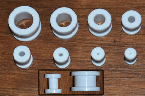 White-Ear-Expander-Kit-Two-Sets-of-Acrylic-Flesh-Tunnels-Quality-Screw-on-Ends