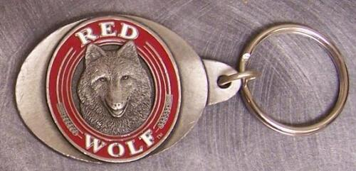 Pewter Key Ring novelty Red Wolf NEW
