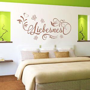 Details zu Wandtattoo Liebesnest | Schlafzimmer Paare Liebe Blumen Geschenk  Partner Deko