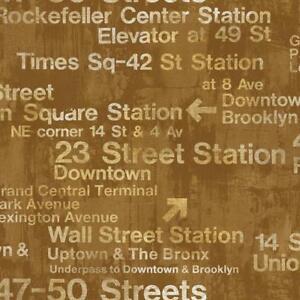 Wallpaper-Designer-Modern-New-York-Train-Station-Subway-Street-Signs-on-Gold