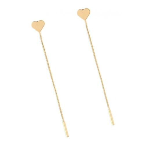 Love Heart Ear Studs Tassel Thread Threader Earring Charms Party Jewelry