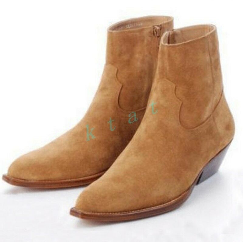 Men's Chelsea Suede Leather Mid Heels Leopard High Top Riding Formal Ankle Boots