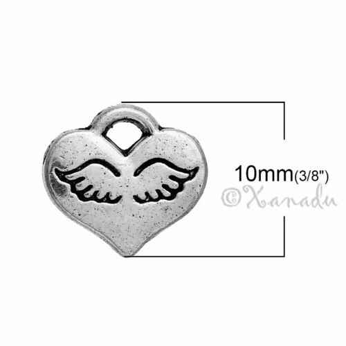 Angel Wing Hearts 10mm Antiqued Silver Plated Charms C0934-20 50 Or 100PCs