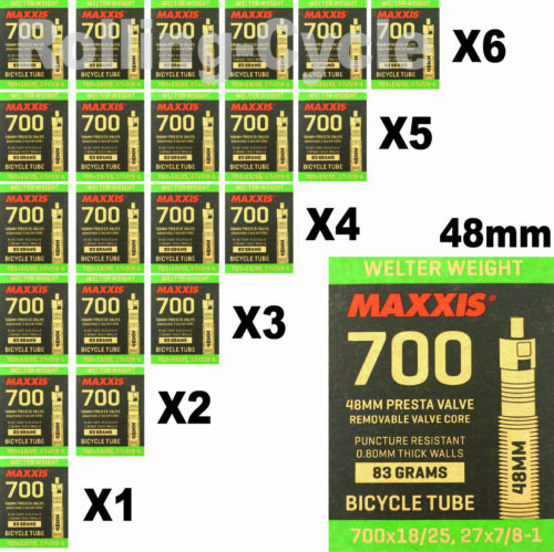 1Pack-6 Pack Maxxis Welter Weight 700x18-25C 48mm Bicycle Inner Tube Presta FV